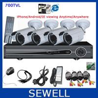 700TVL CMOS 4ch Full D1 Kit CCTV DVR Day Night Waterproof Security Camera Surveillance Video System Home DIY CCTV systems