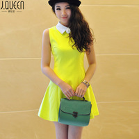 Queen of the spring and summer sweet candy color turn-down collar one-piece dress sleeveless slim one-piece dress skirt