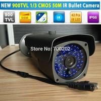 "Hot! 1/3"" 900TVL 960H CCTV bullet camera, 16mm, 42pcs IR LED, IR CUT, Weatherproof Indoor/ Outdoor with bracket, Free shipping"