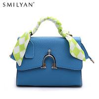 Smilyan candy color women's cowhide handbag 2014 hanap rivet bag elegant ribbon small cross-body bag