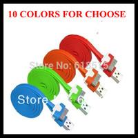 2000pcs/lot 1M Noodle Flat USB Sync Data & Charger Cable Colorful noodles Cable For iphone 3gs 4 4s