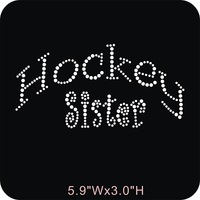 FREE shipping 40pcs/lot Wholesale Hockey Sister Rhinestone Heat Transfers Iron On Bling