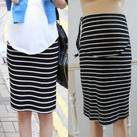 Free shipping Maternity clothing summer maternity short skirt slim hip maternity dress black and white stripe medium skirt