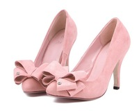 Free Shipping 2014 fashion bowknot pointed toe ladies high heel dress shoes women sexy evening pumps wholesale