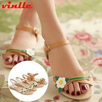 VINLLE 2014 Arrive women genuine leather shoes Flat  women female sandals size  34-39