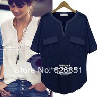 New 2014 Fashion Summer Navy Style T Shirts Loose Women V Neck Basic Shirt Short Sleeve Blue T-shirts Women Cotton White Tops