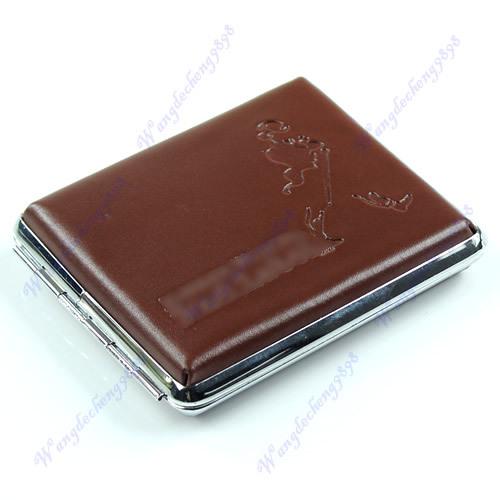 E93Brown Pocket Leather Cigarette Tobacco Box Case Holder 18 pcs NewFree Shipping wholesale/retail(China (Mainland))