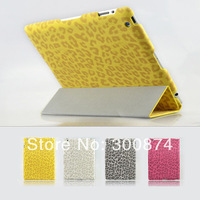 New Arrival Thin PU Leather Case for iPad 2 3 4 Leopard Pattern Smart Cover with Stand Magnetic for 2 3 4 Free Shipping