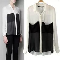 New Spring 2014 Brand ZA women clothing chiffon blouses Black White color Patchwork shirt women(S M L)
