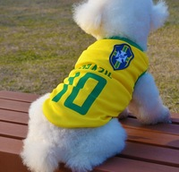 Size XXL 2014 Brazil Brasil World Cup Yellow Summer Football Vest Uniforms Pet Sport jerseys Dog Clothes for Small Large Dogs