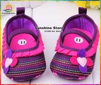Sunshine store #2X0011 3 pair/lot(purple)2014 Infant Girls Baby shoes hot sale flower elastic sandals antiskid Kids First Walker