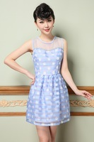 Heavy spring and summer 2014 women's big embroidered flowers perspective gauze dress stitching Slim