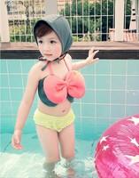 Retail Three piece set bikini swimwear girls Bow swimsuit fashion childrens swimwear Girl's swimsuit/beach wear/