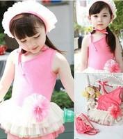 Retail-free shipping Children's swimwear girls Korean conjoined Skirt Pink cute baby princess swimwear baby swimwear