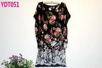 New 2014 belt section fashion summer tops plus size flower lace chiffon blouse free shipping (4colors)