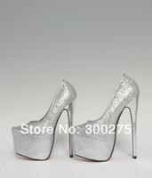 2014 spring 19cm red bottom Ultra high Heels sexy Pointy fashion wedding platform Gold Sliver shoes,Big size:40-44 45 46