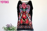 New 2014 belt section fashion summer tops plus size blouses shirts / ethnic style print chiffon blouse free shipping (3 colors)