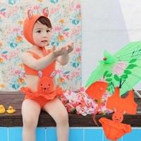 retail 3-7 yearsFree Shipping,Baby Bunny Swimwear girl Swimsuit for Girls Hat + One Pieces children Cartoon Swimsuit