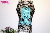 New 2014 belt section fashion summer tops plus size leopard chiffon blouse free shipping (4colors)