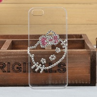Cute Cartoon bling diamond hard back case FOR HTC J Z321E,Transparent Crystal Case for HTC J Z321E