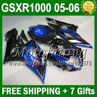7gifts For SUZUKI K5 GSXR 1000 05-06 GSXR1000 K5 05 06 blue black 2005 2006 GSX-R1000 GSX R1000 blue 544 HOT Fairing Kit