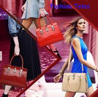 Women's Handbag Brand Genuine Leather New 2014 Crocodile Pattern Fashion Glitter Totes Designer Shoulder Bgas Cross-Dody Big