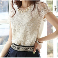 Spring summer 2014 new Women's plus size European lace shirt printed chiffon shirt blouse sleeved Beaded gauze bottoming shirts