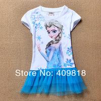 2014 Frozen Dress Girls Dress Elsa T Shirt Dress 2-8Yrs Kids