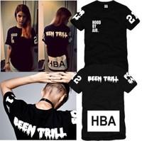 Men's  Cotton t shirt Hood by air hba x been trill kanye west T-shirt short-sleeve tee