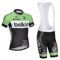New 2014 BELKIN Team BIANCHI Cycling Jersey Cycling Bib Shorts Summer Cycling Clothing Set Bicycle Clothing Size : S-XXXL
