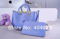 2014 light blue yellow original purse  Luxury  fashion women's bag, shoulder bags  semi-circular  genuine leather