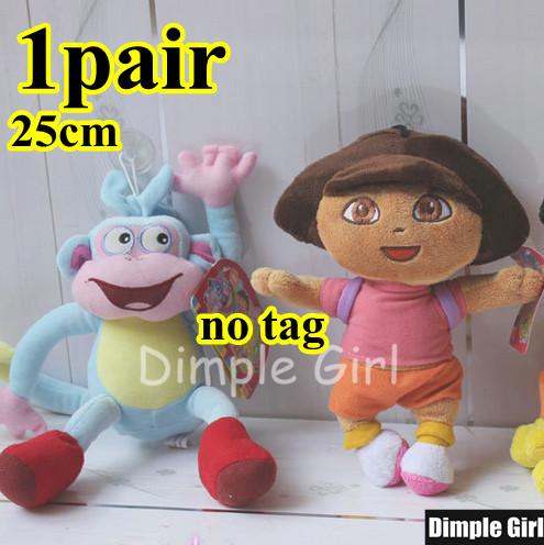1Pair 25cm Dora The Explorer Blue Boots Monkey Plush Toy Soft Doll Kawaii Happy Birthday Gift Idea Present Set For Baby Girl Kid(China (Mainland))