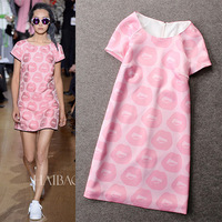 2014 fashion spring and summer sell like hot cakes straight  round collar lips printed  pink one-piece dress free shipping