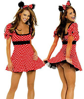 Free Shipping 2 pieces Womens Sexy Costume Mascot Kit Mickey Party Costumes with Mickey mouse Halloween Cosplay