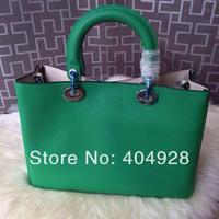 2014  green original purse  Luxury  fashion women's bag, shoulder bags  semi-circular  genuine leather