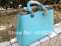 2014 spring blue  original purse  Luxury  fashion women's bag, shoulder bags  semi-circular  genuine leather