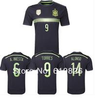 Top A+++ 2014 World Cup official spain away home 8 xavi soccer jersey espana player version 6 iniesta football uniform shirt