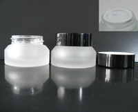 High quality  15G clear  frosted  glass  Jar,Eyeshadow  cream containers ,makeup bottle with aluminum cap