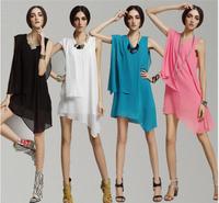 2014 New women plus size S -- XXXXL Irregular chiffon dress,Europe brief fashion chiffon shirt,candy color sexy dress for women