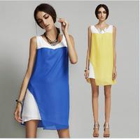 2014 Europe fashion Brief irregular chiffon one-piece dress ,plus size S -- XXXXL Color matching sexy dress,patchwork dress