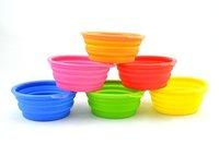 DHL Free Shipping  Fashion Silicone Collapsible Feeding Water Feeder Bowl pet Dog Cat Travel Dish Folding dog bowl