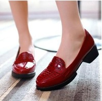 2014 patent leather crocodile grain documentary shoes women's shoes