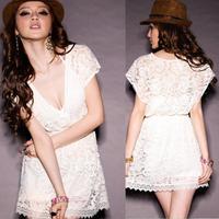 New 2015 spring summer Party Club Women White Deep V Neck  Lace cute lace Novelty Dresses Short  Sleeve vestidos de festa