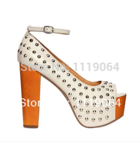 Fashion Beige Genuine Leather Silver Studded Chunky Heel Sandals Ankle Strap Platform High Heeled Peep Toe Shoes Women(China (Mainland))