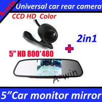 "car Monitor  5"" Car Rearview Mirror Monitor 800*480 + car rear view parking  camera CCD HD"