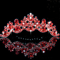 Gorgeous Lady Gold Plated Red Crystal Wedding Crown Tiara Combs Party Show Accessary