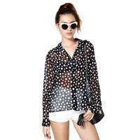 2014 new fashion Irregular size dot polka dot long-sleeve large lapel female perspective shirt fashion haoduoyi