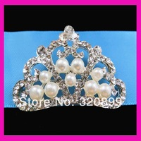 50*35mm Crown ribbon rhinestone brooch buckle for invitaion 100pcs/lot
