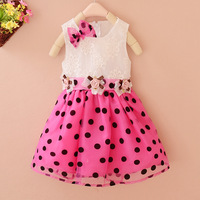 Платье для девочек fashion children summer clothes Baby Kids lace princess dress little girl party dress with bow Polka Dot Pink KYZCZ021