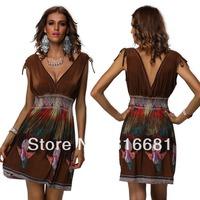 2014 New Summer Dress Women Trendy Sexy Deep V-neck Stitching Back Hollow Out Chiffon Amoeba print  Sleeveless beach dress